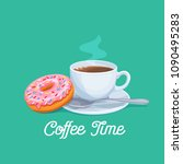 vector cup of coffee and donut. ... | Shutterstock .eps vector #1090495283