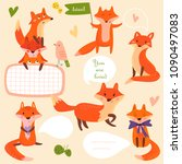 vector set of cute foxes in... | Shutterstock .eps vector #1090497083