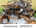 A heap of iron-and-steel waste, approximately 1 ton - stock photo