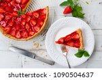 homemade strawberry tart... | Shutterstock . vector #1090504637