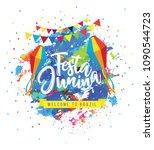 festa junina background on...   Shutterstock .eps vector #1090544723