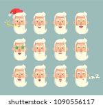 grandfather emoticons set  head ... | Shutterstock .eps vector #1090556117