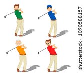 four golf male players of... | Shutterstock .eps vector #1090588157