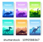 brochures with set of colorful... | Shutterstock .eps vector #1090588367