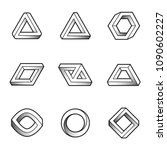set of impossible shapes. web... | Shutterstock .eps vector #1090602227