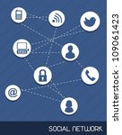 social network icons over blue... | Shutterstock .eps vector #109061423