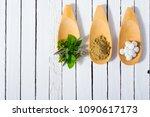 herbal leaves  ground herb...   Shutterstock . vector #1090617173