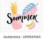 summer poster. calligraphy word ... | Shutterstock .eps vector #1090634363
