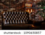 loft interior. leather couch... | Shutterstock . vector #1090650857