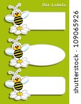 Set of labels with bee and daisy, kids illustration - stock vector