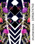 design for dress with tropical... | Shutterstock .eps vector #1090674743