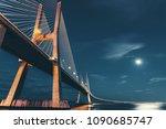 vasco da gama bridge in lisbon  ... | Shutterstock . vector #1090685747