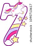 number 7 with cute unicorn and... | Shutterstock .eps vector #1090713617