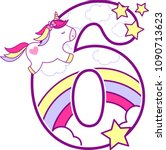 number 6 with cute unicorn and... | Shutterstock .eps vector #1090713623