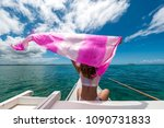 woman holding a scarf on the...   Shutterstock . vector #1090731833