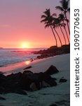 an orange hawaiian sunset on... | Shutterstock . vector #1090770653