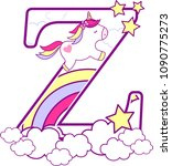 initial z with cute unicorn and ... | Shutterstock .eps vector #1090775273