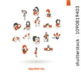 happy mothers day simple flat... | Shutterstock .eps vector #1090819403