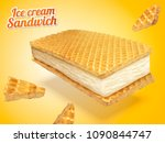 ice cream sandwich with wafer... | Shutterstock .eps vector #1090844747