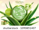 aloe vera cream on refreshing... | Shutterstock .eps vector #1090851407