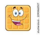 happy square waffle cartoon... | Shutterstock .eps vector #1090868507