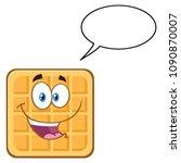 square waffle cartoon mascot... | Shutterstock .eps vector #1090870007