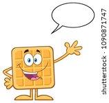 happy square waffle cartoon... | Shutterstock .eps vector #1090871747