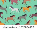 Stock vector seamless pattern with colorful horses flat style isolated on green background 1090886957