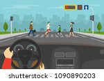 hands driving a car on the...   Shutterstock .eps vector #1090890203