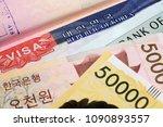 korean visa in a passport and...   Shutterstock . vector #1090893557