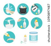 icons set of steps to preparing ... | Shutterstock .eps vector #1090897487