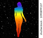 silhouette of woman in rainbow... | Shutterstock . vector #1090899137