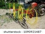 yellow rotary hay collector ...   Shutterstock . vector #1090921487