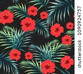 seamless pattern with tropical...   Shutterstock .eps vector #1090924757