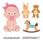 baby girl that has pink ribbon... | Shutterstock .eps vector #1090936817