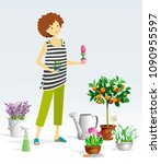 gardener girl and a collection... | Shutterstock .eps vector #1090955597