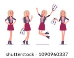 young woman positive emotions.... | Shutterstock .eps vector #1090960337