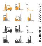 set icons of loader equipment... | Shutterstock .eps vector #1090971797