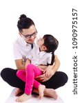 asian father and his cute... | Shutterstock . vector #1090975157
