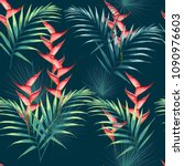 seamless pattern with tropical... | Shutterstock .eps vector #1090976603