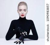 fashion studio portrait of... | Shutterstock . vector #1090983857