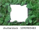 creative layout made of leaves... | Shutterstock . vector #1090985483