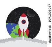 cartoon rocket space ship take... | Shutterstock .eps vector #1091005067