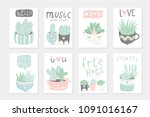 set of 8 cute ready to use gift ... | Shutterstock .eps vector #1091016167