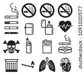 cigarette icons. vector... | Shutterstock .eps vector #1091020577
