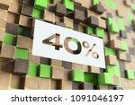 white papercut 40  symbol on... | Shutterstock . vector #1091046197