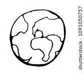 black and white earth sketch in ... | Shutterstock .eps vector #1091050757