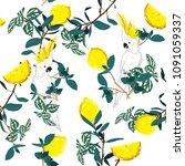 forest print. parrot bird in... | Shutterstock .eps vector #1091059337
