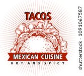 taco. mexican food. traditional ... | Shutterstock .eps vector #1091067587