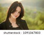 girl with long brunette hair on ...   Shutterstock . vector #1091067803